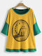 Cute Cat Cartoon Patchwork Plus Size Casual T-shirt - Yellow