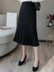 Solid Color Pleated Long Casual Skirts for Women - Black