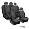 9Pcs/Set PU Leather Car Seat Detachable Covers Front Bucket Full Set Protector - Grey