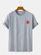 Mens Cotton Strawberry Print Solid Color Casual Loose O-Neck T-Shirts - Grey