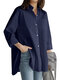Casual Solid Color Lapel Plus Size Shirt for Women - Navy