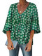 Floral Printed Half Sleeve V-neck Button Blouse - Green