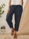 Striped Elastic Waist Pants With Pocket - Navy