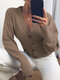 Solid Color Pleated V-neck Button Long Sleeve Cardigan - Brown