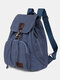 Vintage Canvas Drawstring Large Capacity Travel 15 Inch Multi-Carry Bag Backpack For College Students Men Women - Blue