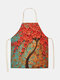 3D Tree Painting Pattern Cleaning Colorful Aprons Home Cooking Kitchen Apron Cook Wear Cotton Linen Adult Bibs - #10