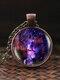 Vintage Glass Gem Women Necklace Universe Starry Sky Pendant Necklace Jewelry - #06