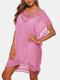 女性の中空Vネック薄い日焼け止めドレスビーチカバーアップ - ピンク