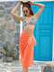 Women Solid Color Knotted Side Chiffon Beach Cover Up Skirt Swimsuit - Orange