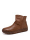 SOCOFY Solid Color Folds Soft Cowhide Leather Comfy Soft Sole Flat Short Boots - Brown
