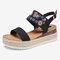 Lostisy Women Flowers Embroidered Slingback Espadrilles Buckle Platform Sandals - Black
