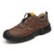Men Genuine Leather Slip Resistant Elastic Lace Casual Outdoor Hiking Shoes - Brown