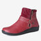 Large Size Women Retro Comfy PU Leather Zipper Flat Short Boots - Red