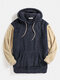 Mens Fluffy Patchwork Colorblock Pouch Pocket Teddy Hoodie - Navy