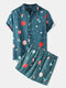 Mens Funny Space Cartoon Print Loose Breathable & Thin Suits - Dark Blue