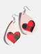 Vintage Drop-Shape Hollow Plaid Pattern Valentine's Day Heart PU Leather Earrings - #03