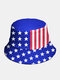 Unisex Cotton Contrast Color Five-pointed Star Stripe Pattern American Flag Fashion Sunshade Bucket Hat - Blue