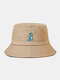 Unisex Cotton Solid Color Cartoon Little Dinosaur Embroidery All-match Sun Protection Bucket Hat - Khaki