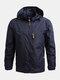 Mens Solid Windproof Outdoor Sport Zipper Up Turtleneck Hooded Jackets - Blue