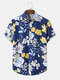 Mens Colored Floral Print Button Up Holiday Short Sleeve Shirts - Blue