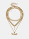Trendy Metal Peach Heart Wing Pendant Necklace Key Multilayer Necklace - Gold