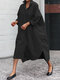 Solid Color Long Sleeves Lapel Blouse Dress For Women - Black