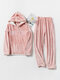Women Flannel Letter Embroidery Patchwork Thicken Hoodie Warm Home Pajama Set - Pink