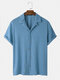 Mens Towelling Solid Color Revere Collar Basics Short Sleeve Shirts - Blue