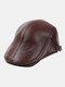 Men Genuine Leather Casual Retro Flat Cap Fashion Forward Hat Beret Hat - Brown