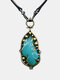 Vintage Drop-Shaped Women Necklace Carved Chalcedony Pendant Necklace - Silver