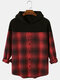 Mens Patchwork Plaid Button Up Long Sleeves Shirt Casual Hoodies - Red