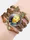 Vintage Painting Crystal Bracelet Hand-Woven Butterfly Infinity Symbol Men Women Multi-Layer Leather Bracelet - #03