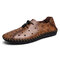 Menico Large Size Men Hand Stitching Leather Hole Collapsible Heel Flats