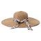 Women Foldable Ribbon Sunscreen Bucket Straw Hat Outdoor Casual Travel Beach Sea Hat - Khaki