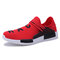Men Fabric Comfy Breathable Non Slip Casual Sneakers - Red