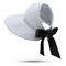 Mujer UV Protección Straw Sombrero Cubo de ala ancha Sombreros Tapas planas redondas Playa Gorra de vacaciones