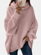 Women Solid Color High Neck Lantern Sleeves Casual Sweater - Pink