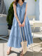 Folds Knotted Patchwork Sleeveless Solid Color Casual Dress For Women - Blue