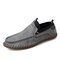 Menico Men Cow Leather Hand Stitching Non Slip Casual Driving Shoes - Gray