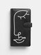 Women Red PU Leather Abstract Stick Figure Pattern Money Clips Card-slots Wallet - Black