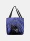 Women Felt Cute Cat Handbag Tote - Blue