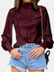 Solid Color High-collar Button Long Lantern Sleeve Casual Blouse for Women - Wine Red