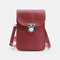 Women Casual Patchwork 6.3inch Touch Screen Phone Bag Crossbody Bag - Wine