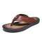 Men PU Leather Hard Wearing Backless Clip Toe Slippers - Brown