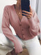 Solid Color Pleated V-neck Button Long Sleeve Cardigan - Pink