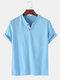 T-shirt décontracté à col en V de couleur unie 100% coton pour hommes - bleu
