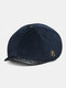 Men Plus Velvet And Thick Plain Color Flat Cap Metal Badge Newsboy Hat Octagonal Hat Beret Hat - Navy