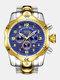 Large Dial Men Business Watch Multifunctional Luminous Calendar Waterproof Quartz Watch - Blue Dial Between Gold Band
