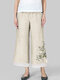 Daisy Floral Printed Two Layer Elastic Waist Pants For Women - Beige