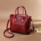 Women Crocodile Pattern PU Leather Handbag Casual Crossbody Bag - Red